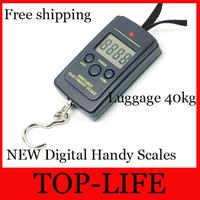 Free Shipping SELLING BY 50pcs/lot NEW Digital Handy Scales Luggage Fishing 40kg 88Lb 1410oz