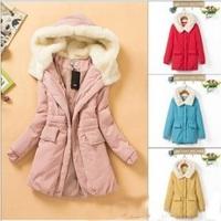 2013 winter cotton-padded women's down jackets,medium-long overcoats women,women winter outerwear coats with hat,plus size