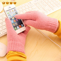 Wool thermal thickening touch screen lovers gloves 2940