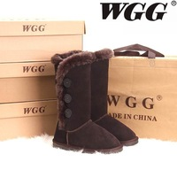 Wgg snow boots boots high-leg women's shoes winter boots genuine leather boots chocolate cow muscle outsole