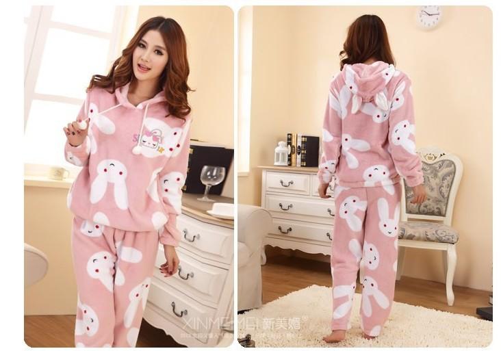 1 комплект / lot зима комикс кролик женщины утолщение коралл пижамы