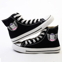 K-pop SNSD Girls' Generation wing logo ankle high canvas shoes free shipping black/white plimsolls