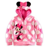 2013 autumn winter New Mickey Minnie Mouse Cartoon Child Girl Clothing Hooded Jecket Thicken Polka Dots Long Sleeve Hoodies
