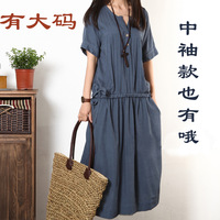 2013 summer fluid loose full dress plus size clothing short-sleeve linen one-piece dress