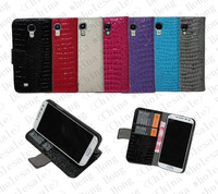 Croco PU Wallet Case for Samsung Galaxy S4 i9500 With Stand Free Shipping 100pcs/lot