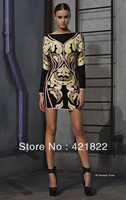 2013 New Fashion Top Quality Elegant Black HL Long Sleeve Bandage Dress Evening Dresses Celebrity Prom Garments Party HL