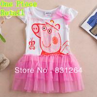Free Shipping Peppa Pig Girls Clothing Nova Dress New Dress Onsie Lace Dress One Piece Retail Dresses New Fashion 2014