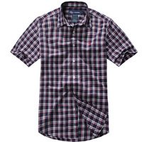 Summer mwe new arrival male shirt short-sleeve 100% male cotton casual plaid shirt male