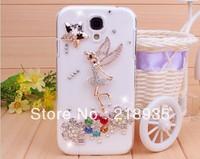 The flying angel little girl rhinestone diamond pc hard cases for samsung s4 i9500 i9508 wholesale