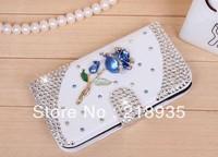 The extravagant luxury blue sky rose flip cover rhinestone cases for samsung s4 i9500 i9508 50pcs/lot