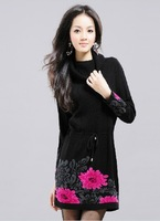 Free shipping! Korean version of the long section lapel jacquard sweater dress / long section turtleneck sweater peony