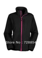Free Shipping New arrival Fashion Outdoor Sports North American Women's Black Pink Ribbon Jacket   Fleece Coat Hoody  388