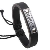 New 2014 Fashion Vintage  believe Genuine Leather Wrap Charm bracelets & bangles brand for Women & Men Jewelry Wholesale W1002
