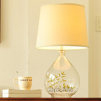 High quality fabric glass table lamp modern minimalist living room bedroom study lamp