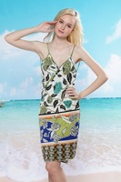 2013 New Summer Printing Women's Beach Skirt Sweet Halter Wrap Dress Seaside Cover-Ups