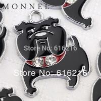 M119b Wholesale 10 pcs DIY Cute Black Bulldog Pet Dog Puppy Charms Pendant