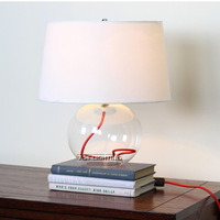 2013 Minimalist modern round glass fabric table lamp bedroom living room study Hotels