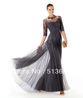 Flaring Sheath Scoop Neck with Sleeves Lace Free Shipping New Arrival 2014 Modest Mother of the Bride Dress
