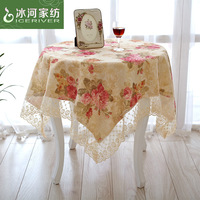 Home textile fabric rustic embroidered round table cloth