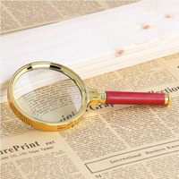 Free Shipping 80mm Red Wooden Handle Magnifier Loupe With Golden Frame Wide Useful Magnifying Glass  For Reading/Jewelry
