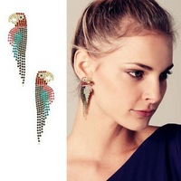 Min Order $15(Can Mix Item)Fashion luxury full rhinestone parrot stud earring limited edition earrings accessories earring
