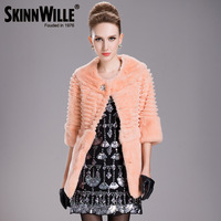 High quality o-neck 2013 beads rabbit fur medium-long fur coat female