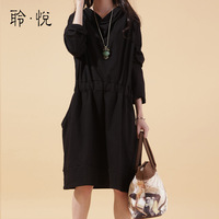 Autumn plus size clothing long-sleeve elastic waist one-piece dress heap turtleneck long-sleeve knitted one-piece dress