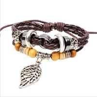 Wholesale New 2014 Bohemian 3 pcs wood bead leaf charm bracelet brown braided leather bracelets & bangles DropShipping W2033