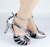 New Ladies Silver Satin Patent Leather Straps Ballroom Latin Samba Salsa Ceroc Tango Dance Shoes Size 34-41