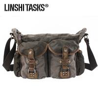 New arrival vintage man canvas&genuine leather shoulder bags, side pockets messenger bags L124AA0421