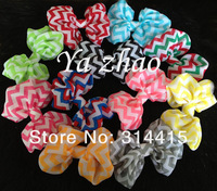 4'' Chiffon Chevron Girls Hair bows , print color bow  for baby kids , 25colors IN STOCK 120pcs/lot free shipping