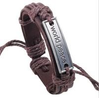 2014 Vintage Genuine Leather Wrap world peace English Charm bracelets & bangles brand for Women & Men Jewelry Wholesale W1006