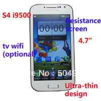 "2013 S4 4.7"" WIFI TV 9500 I9500 Mobile Phone 9500/S4 With Logo Polish / Russian Language Unlocked Gsm Quad Band Dual Sim Cards"