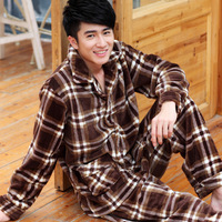 Winter male plaid coral fleece sleepwear male set thickening male flannel sleepwear long-sleeve lounge