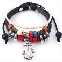 New 2014 Fashion  brand vintage Caribbean style leather bracelet pirate anchor charm  bracelets & bangles W2056 free shipping
