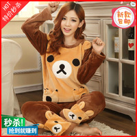 Autumn and winter cartoon long-sleeve sleepwear flannel thickening coral fleece relaxed bear women's lounge