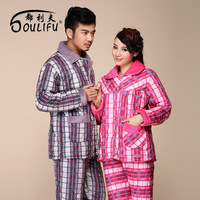 Winter cotton-padded thermal lounge multicolour check flannel large lapel lovers sleep set