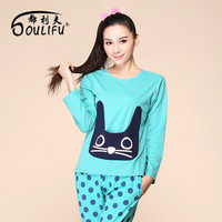 Cartoon sleepwear blue polka dot cartoon cat slim o-neck lounge twinset