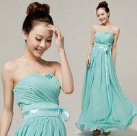 Candy Color Pleated Chiffon Maxi Dresses Party Strapless Elegant Bridesmaid Prom Long Dresses