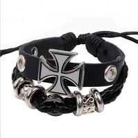 2014 New Arrival Excellent Quality Vintage Roman cross Genuine Leather Pure Handmade bracelet for men wholesale W2026 Wholesale