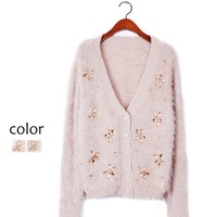 High quality Hot sale 2014 Autumn and winter comfortable soft Pure color mohair Knitting cardigan Diamond sweater woman