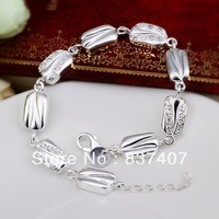 Free Shipping  925 Silver bracelets & bangles For Women  Gem-set candy-shape bracelets & bangles 8 inchs
