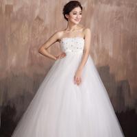 2013 high waist wedding dress luxury lace bride tube top plus size maternity white strap formal dress