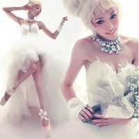 2013 quality sexy deep V-neck luxury train feather the bride wedding dress formal dress