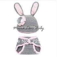 Cute Baby Rabbit Hat Handmade Crochet Newborn Photography Props Wool Cap Headwear with Pants color Gray 18009