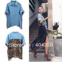 Autumn&Winter Sexy Womens Leopard Print BlouseTop Button Shirt Chiffon Jean Retro Denim Loose Size  Free shipping