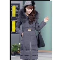 New Arrival 2013 Winter Women'S Female Down Coat Outerwear Ultra Long Slim Thickening Plus Big Size Raccoon Fur Hat High Quality