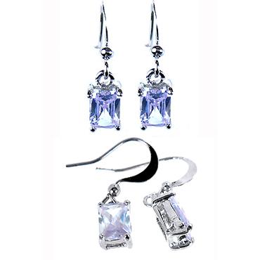 Fashion Jewelry Lady Tanzanite White Gold Plated Dangle Earrings Drop Earings 1 # EB1123EBL(Hong Kong)
