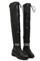 2013 fashion lady's pu over-the -knee boot  girl low heel boots high quality free shipping  slim zipper long boots Boots Knight