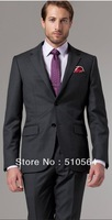 Free shipping Italian high quality worsted 100% pure Wool suit Men Business suit Two Buttons Vincero Charcoal Pinstripe Suit